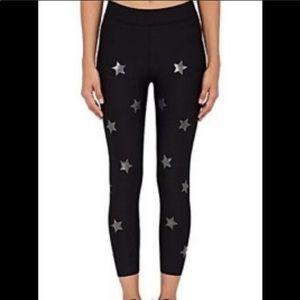 Black foil star leggings